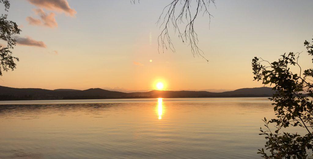 Solnedgång över Ljusnan